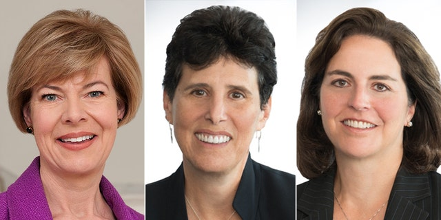 Wisconsin Democratic Sen. Tammy Baldwin (left) and attorneys Debra Katz (middle) and Lisa Banks (right).