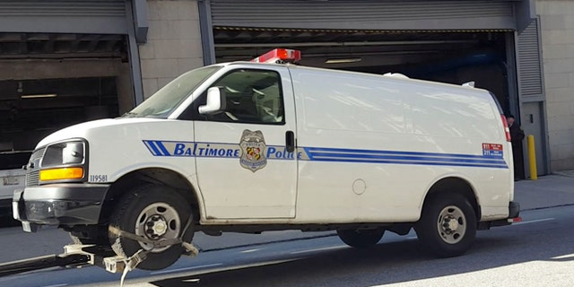 The Baltimore police van Freddie Gray was transported in the day of his arrest and injury is moved to the Courthouse East garage prior to being shown to jurors in the trial of officer William Porter.