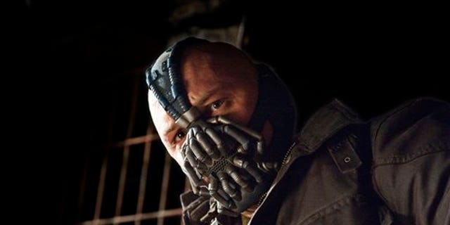 """This undated film image released by Warner Bros. Pictures shows Tom Hardy as Bane in a scene from the action thriller """"The Dark Knight Rises."""""""