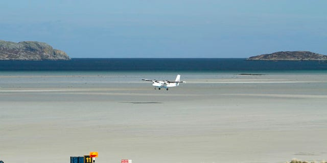 Barra Airport, Traigh Mhor Beach, Isle of Barra, Outer Hebrides.