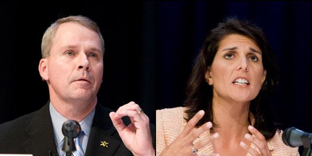 U.S. Rep. Gresham Barrett, (l) and South Carolina Rep. Nikki Haley will meet in a runoff election June 22 to suceed South Carolina Gov. Mark Sanford. (AP)(