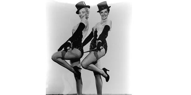 "Marilyn Monroe (left) and Jane Russell strutting their stuff in ""Gentlemen Prefer Blondes"" (1953)."