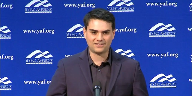 Conservative commentator Ben Shapiro speaking at the University of Connecticut in Storrs, Conn., on January 24.