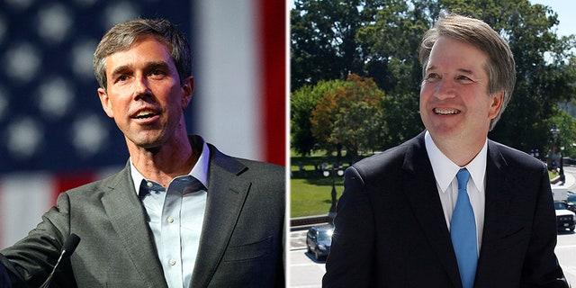 Beto O'Roarke, the Democrat candidate for Senate in Texas (l); and embattled Supreme Court nominee Brett Kavanaugh (r).