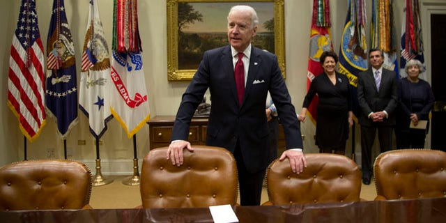 Vice President Biden in the Roosevelt Room at the White House in Washington, Monday, Dec. 16, 2013.