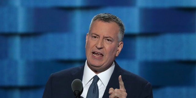 New York City Mayor Bill De Blasio delivers remarks on the third day of the Democratic National Convention on July 27, 2016 in Philadelphia.