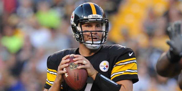 Pittsburgh Steelers quarterback Ben Roethlisberger (7) looks to pass in the first quarter of an NFL football preseason game against the Buffalo Bills on Saturday, Aug. 16, 2014, in Pittsburgh. (AP Photo/Don Wright)