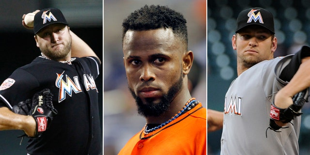 This photo combo made from file photos shows Miami Marlins players, from left, pitcher Mark Buehrle, shortstop Jose Reyes, and pitcher Josh Johnson. The Miami Marlins have finalized their big salary dumping trade that sends Reyes to the Toronto Blue Jays with pitchers Buehrle and Johnson, catcher John Buck and outfielder Emilio Bonifacio for seven relatively low-priced players. (AP Photos)