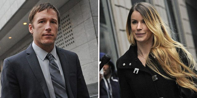 December 9, 2013: Olympic skier Bode Miller, left, and his ex-girlfriend Sara McKenna outside family court in New York City. The two have reached a temporary agreement to share custody of their infant son (AP Photos)