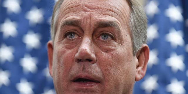 In this Feb. 25, 2014, photo, House Speaker John Boehner of Ohio speaks to reporters following a meeting on Capitol Hill in Washington. Boehner has a possible escape from the homeland security funding impasse if he's willing to use it: cooperative Democrats. (AP Photo/Susan Walsh)