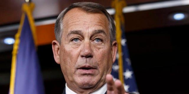 FILE: Dec. 11, 2014: House Speaker John Boehner speaks at a news conference on Capitol Hill, in Washington, D.C.