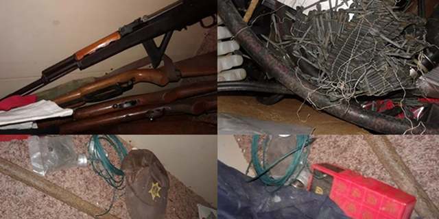 Photos of machine guns and bombmaking material allegedly possessed by the men.