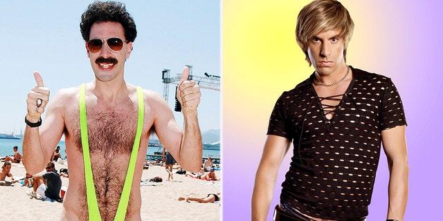 "Sacha Baron Cohen as ""Borat"" [left] and ""Brüno"" [right]."