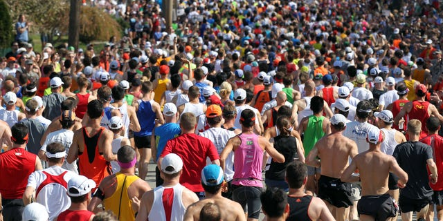 April 16: Runners start the 116th running of the Boston Marathon, in Hopkinton, Mass.