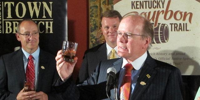 Aug. 16, 2012: Alltech President Pearse Lyons raises his glass as Alltechs Lexington Brewing & Distilling Co. joins the Kentucky Bourbon Trail.