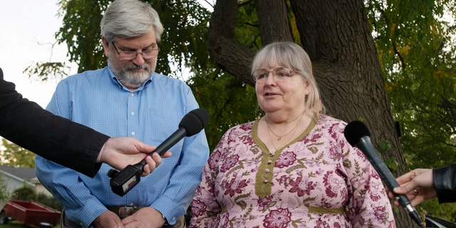 Linda and Patrick Boyle, parents of Joshua Boyle, speak to reporters outside their home in Smiths Falls, Ontario, Oct. 12, 2017.