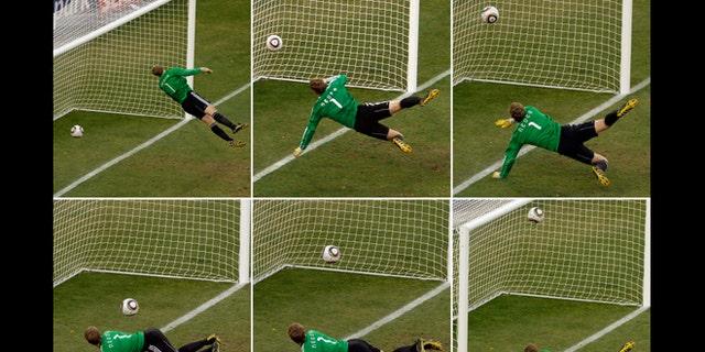 The June 27, 2010 file photo combo shows Germany goalkeeper Manuel Neuer looking at the ball that hit the bar to bounce over the line during the World Cup round of 16 soccer match between Germany and England at Free State Stadium in Bloemfontein, South Africa. FIFA will use goal-line technology in international matches for the first time at the Confederations Cup, starting with Saturdays, June 15, 2013 opening match between Brazil and Japan.