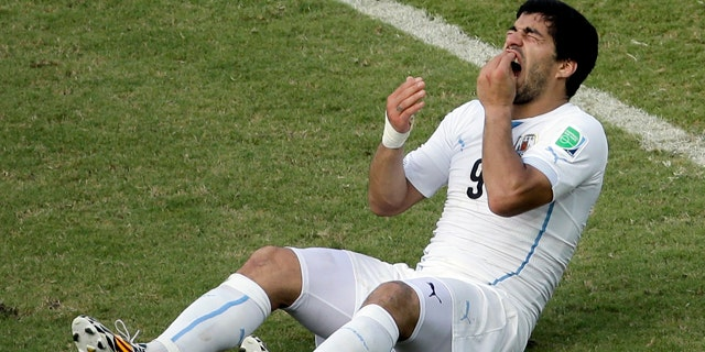 June 24, 2014: Uruguay's Luis Suarez reacts while sitting on the pitch during the group D World Cup soccer match between Italy and Uruguay at the Arena das Dunas in Natal, Brazil. (AP Photo/Hassan Ammar)