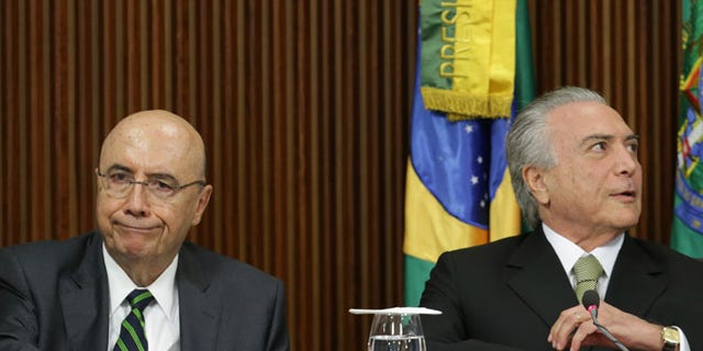Brazil's acting President Michel Temer, right, and his Finance Minister Henrique Meirelles on May 24, 2016.