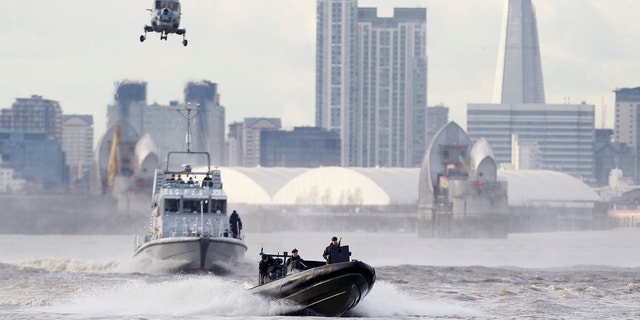 A January security exercise on London's Thames River for the Olympic Games. Not since World War II have Britain and the United States teamed up for such a massive security operation on British soil, and not without reason. (AP Photo)