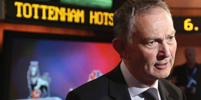 FILE - This is a  Tuesday, April 16, 2013 file photo of Richard Scudamore, chief executive of the English Premier League,  as he speaks during an interview at NBC studios in New York. At the expense of women, it's crystal clear why Premier League boss Richard Scudamore is often called the most powerful man in English football. Exchanging smutty, sexist emails with chums, provoking a wave of condemnation when they were published, wasn't enough to force his resignation or get him sacked.  (AP Photo/Bebeto Matthews, File)