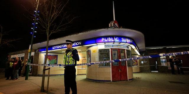 Dec. 5, 2015: Police cordon off Leytonstone Underground Station in east London following a stabbing incident. (Jonathan Brady/PA via AP)
