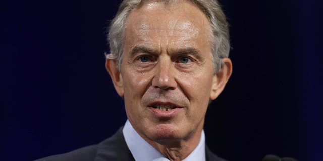 In this April 8, 2013 file photo, former British Prime Minister Tony Blair speaks at Lafayette College in Easton, Pa.
