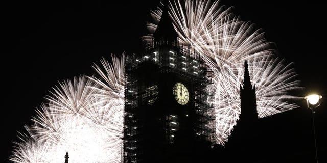 Fireworks surround London's Big Ben, which is undergoing renovation work.