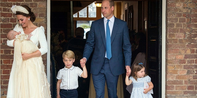 Louis's siblings Prince George, 4, and Princess Charlotte, 3, also watched the ceremony at The Chapel Royal in St. James's Palace. (Matt Holyoak, Camera Press)