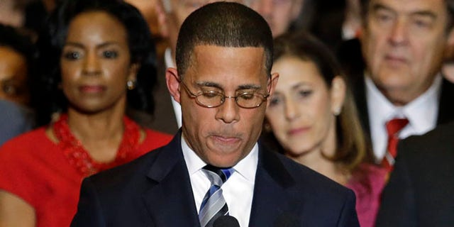 FILE: Nov. 5, 2014: Maryland Democratic gubernatorial candidate Lt. Gov. Anthony Brown concedes on election night, College Park, Md.
