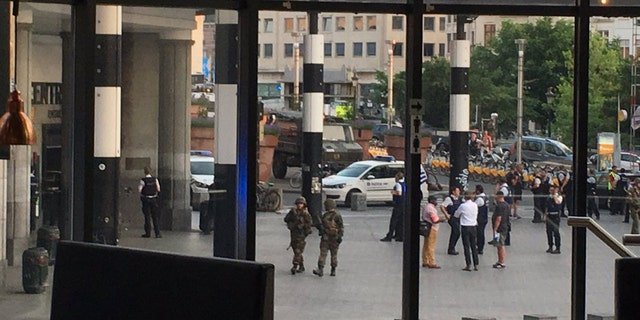 The scene after reports of an explosion and gunshots at Brussels Central station.