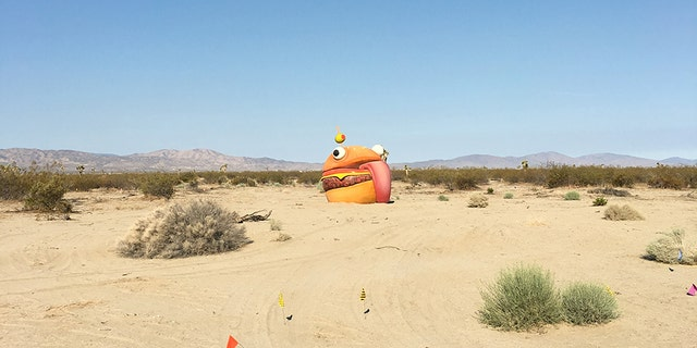 A massive burger from the popular game Fortnite made an appearance in the Mojave Desert.