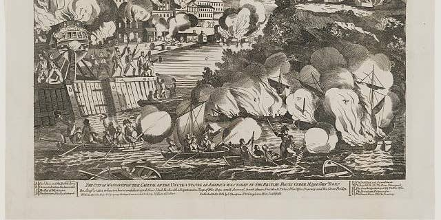 """1814 print - """"The taking of the city of Washington in America."""""""