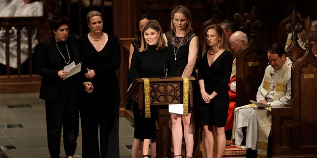 Jenna Bush speaks at her grandmother's funeral on Saturday, April 21, 2018.