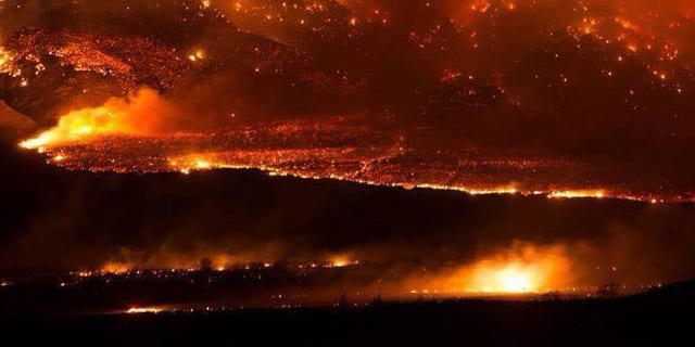 Feb. 6, 2015: The Round fire burning at Wheeler Crest near Bishop Calif. . Firefighters have gained the upper hand on a wind-driven wildfire that destroyed 40 homes, burned nearly 11 square miles and forced about 150 people to leave two small California towns at the eastern base of the Sierra Nevada.