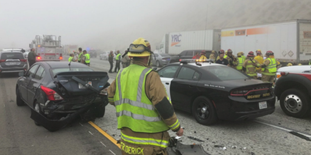 Investigators said approximately 20 vehicles were involved and at least 15 people were reported hurt in a Southern California pileup.