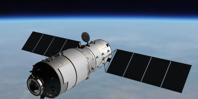 An artist's Illustration of China's Tiangong-1 space lab, which is expected to fall back to Earth soon.