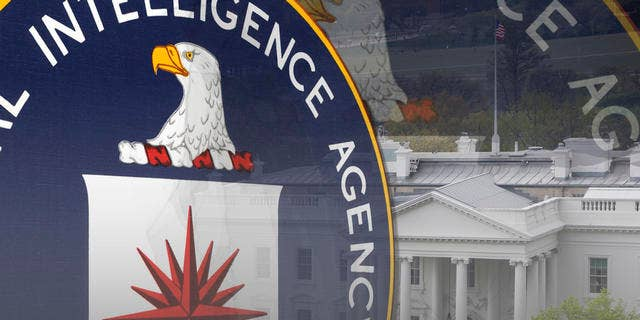 CIA logo over the White House building. (AP)