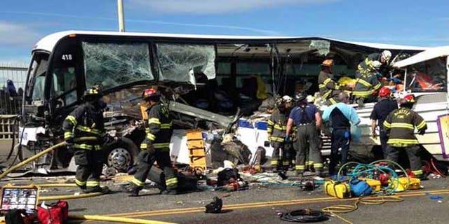 A tour bus crashed into a charter bus on a Seattle bridge Thursday.