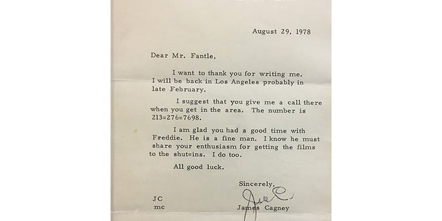 """A letter James Cagney wrote to David Fantle after he interviewed """"Freddie"""" or Fred Astaire."""