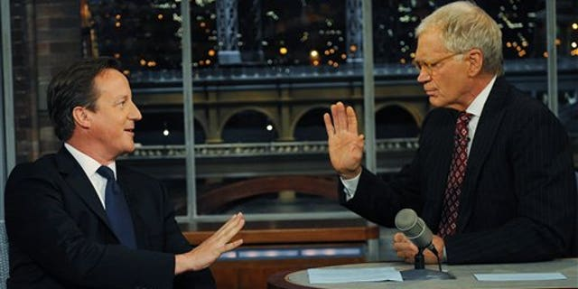 Sept. 26, 2012: Britain's Prime Minister David Cameron (left) talks with talk show host David Letterman on the David Letterman Show  after he addressed the United Nations General Assembly, in New York.