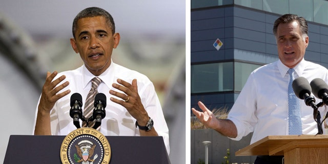 This combination of Associated Press file photos shows from left, President Obama speaking at the TPI Composites Factory, a manufacturer of wind turbine blades on May 24, 2012, in Newton, Iowa,  and Republican presidential candidate, former Massachusetts Gov. Mitt Romney speaking at the Solyndra manufacturing facility on May 31, 2012, in Fremont, Calif. The weak May unemployment report released Friday, June 1, 2012, presents President Barack Obama with a sobering reminder that his stewardship of a gradual recovery from the deepest recession since the Great Depression presents a tenuous argument for his re-election.  However  anemic job growth and an uptick in joblessness to 8.2 percent give new resonance to Republican presidential rival Mitt Romney's campaign. (AP Photo/Charlie Neibergall,  Mary Altaffer. File)