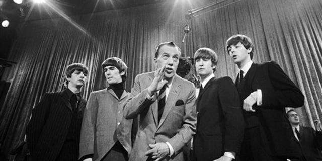 "Ed Sullivan with The Beatles during a rehearsal on Feb. 9, 1964 for the British group's first American appearance on ""The Ed Sullivan Show."""