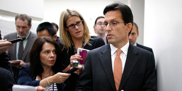 FILE: October 3, 2013: House Majority Leader Eric Cantor after a news conference at the U.S. Capitol in Washington, D.C.