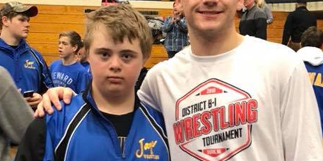 """""""Today at district wrestling a young man, Austin Middleton, showed true character,"""" wrote Caroline Fehlhafer."""
