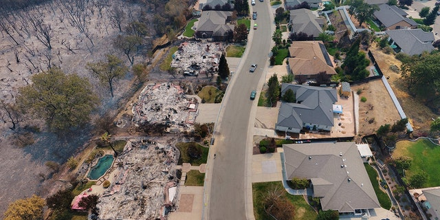 An aerial shot of the damage and destruction.