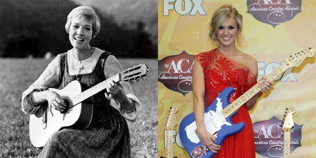 """Julie Andrews, left, is pictured in """"The Sound of Music."""" Carrie Underwood, right, will play Andrews' character Maria in a remake of the film."""