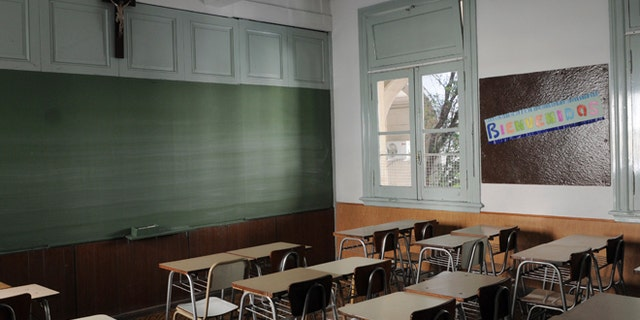 A classroom in the Colegio Misericordia de Flores in Buenos Aires, Argentina. (Photo by Grupo44/LatinContent/Getty Images)