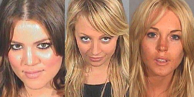Khloe Kardashian, Nicole Richie and Lindsay Lohan (l to r) in their DUI mug shots.