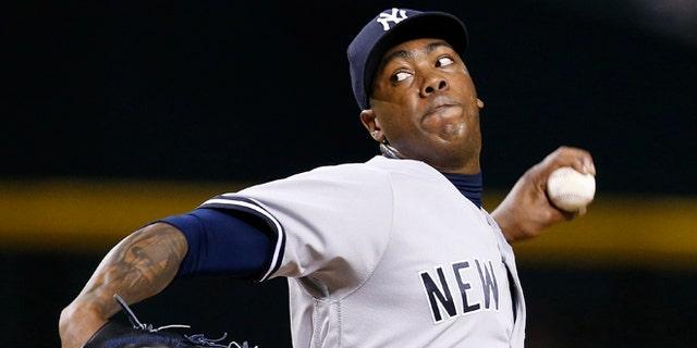 New York Yankees' Aroldis Chapman in a May 18, 2016 file photo.